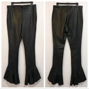 Topshop Golden Splatter Vegan Leather Ruffle Pants